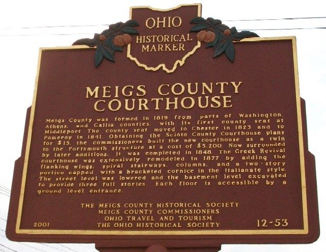This is side B of the marker. It tells about the Meigs County Courthouse and the circumstances around its erection.