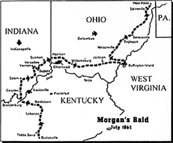 Map of the route that Morgan's raid journeyed.