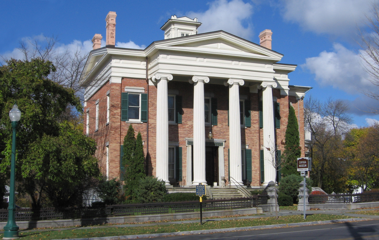 The Willard-Case Mansion was built in 1836 and now houses the Cayuga Museum.