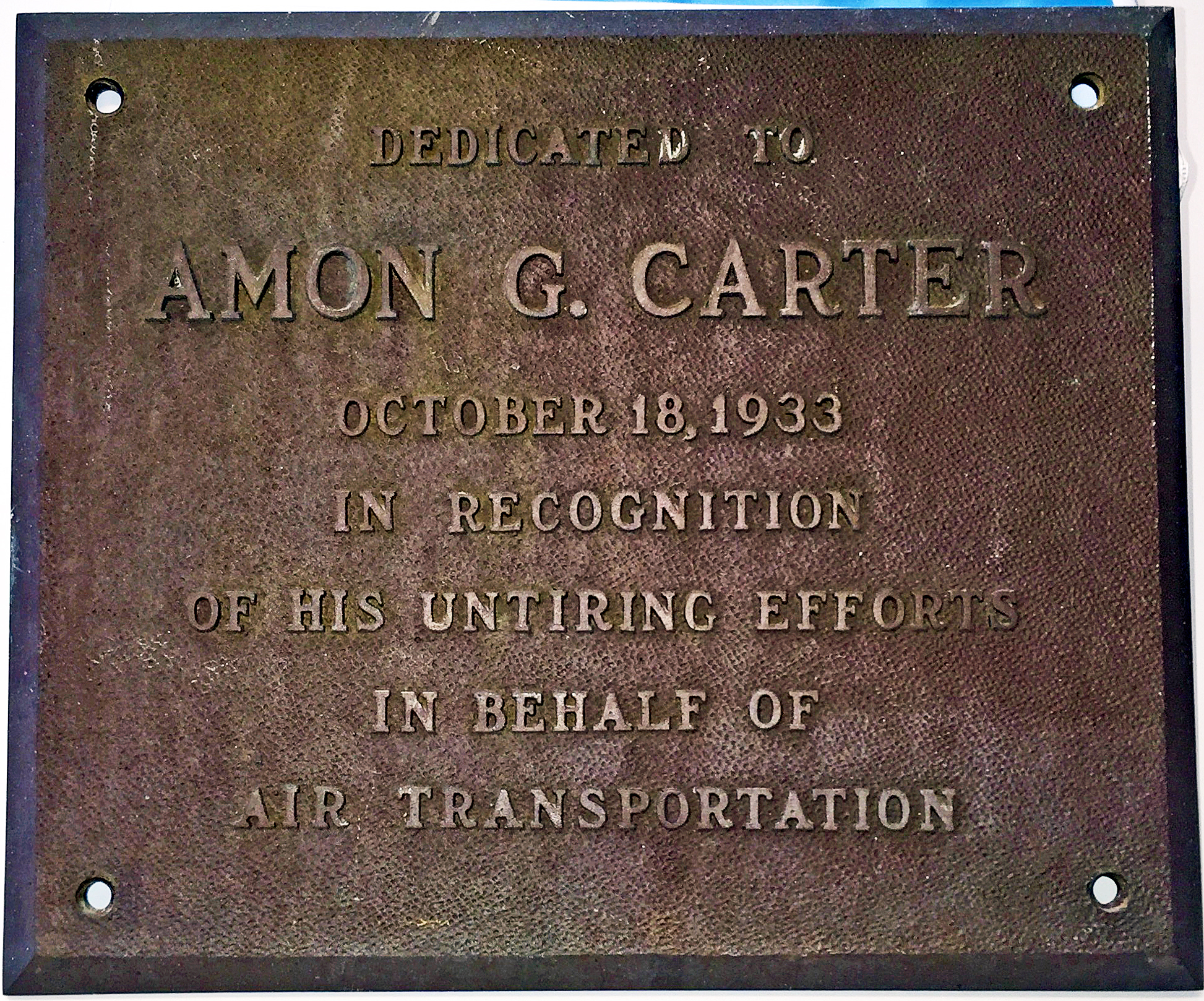 American Airways Admin Bldg and Hangar Dedication Plaque 1933