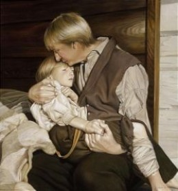 Painting depicting Joseph Smith Jr. being held by his father before the surgery.