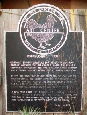 The Old Chicken Farm Art Center historical marker