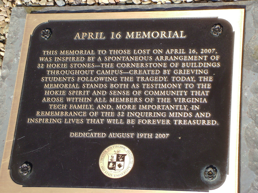 April 16 Memorial Plaque
