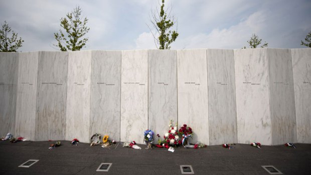 The memorial wall honors the lives of those who perished on United Flight 93.