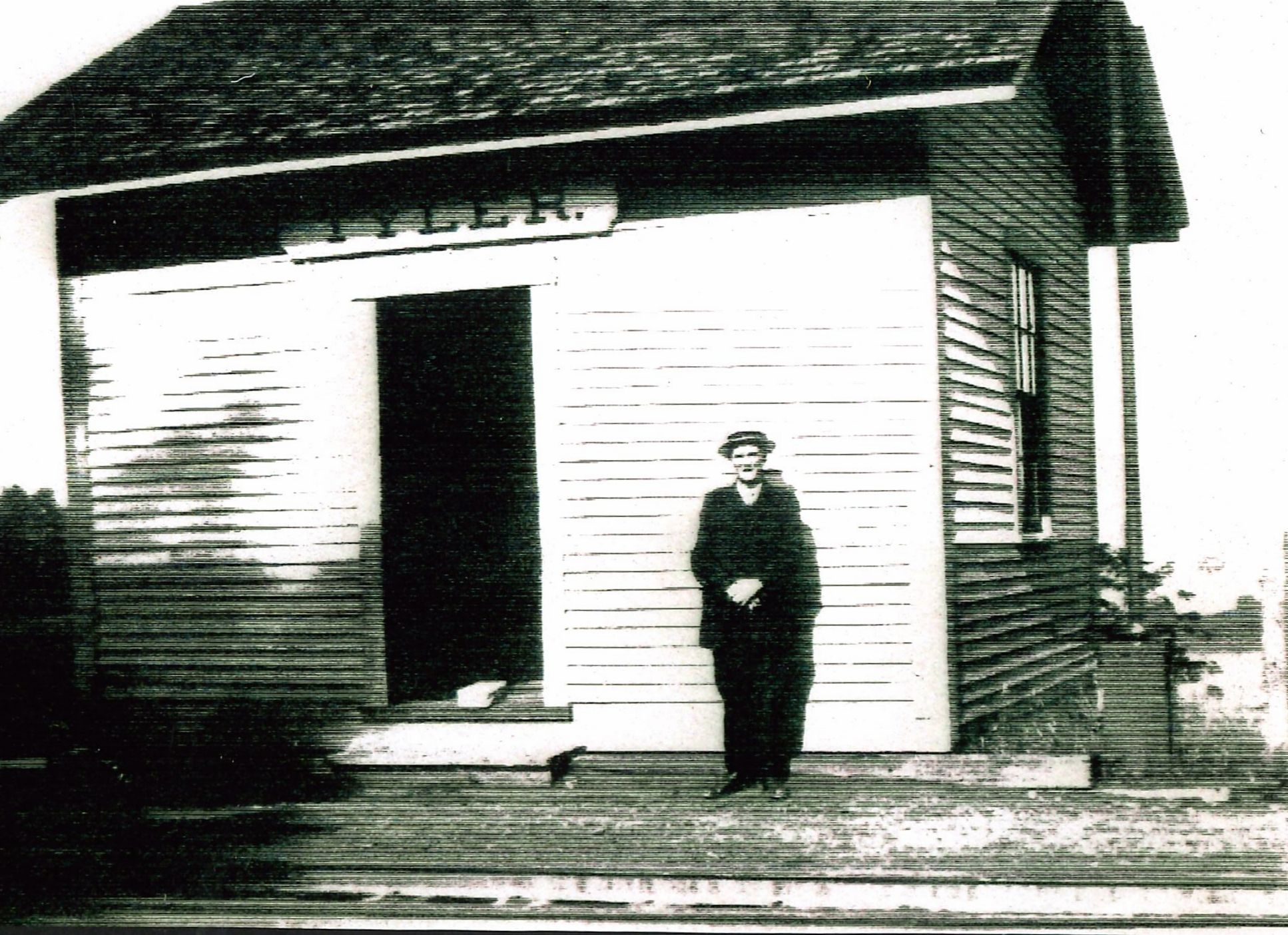 Image of the Tyler Station.  The gentleman standing in front of the station is identified as Thomas Card (1871-1957).  Mr. Card lived in the Blackwater District close to Tyler Station, and worked in Contoocook Village as a machinist at Kingsbury & Davis.  Perhaps on this day he was taking the train from Contoocook to Tyler for his lunch break!  Many accounts of K & D workers say they went home for lunch.