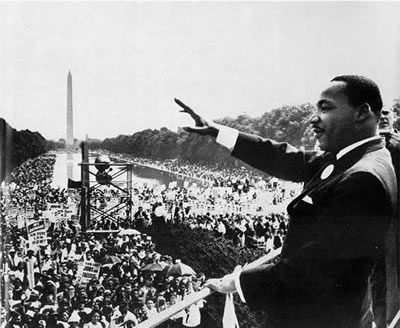 "Photo of Rev. Martin Luther King Jr. during his ""I Have a Dream"" speech in 1963."