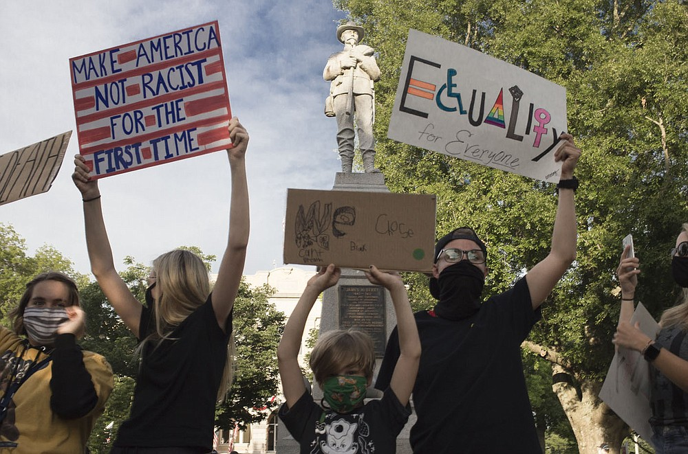 Protestors in front of Bentonville's Confederate Monument on June 1, 2020