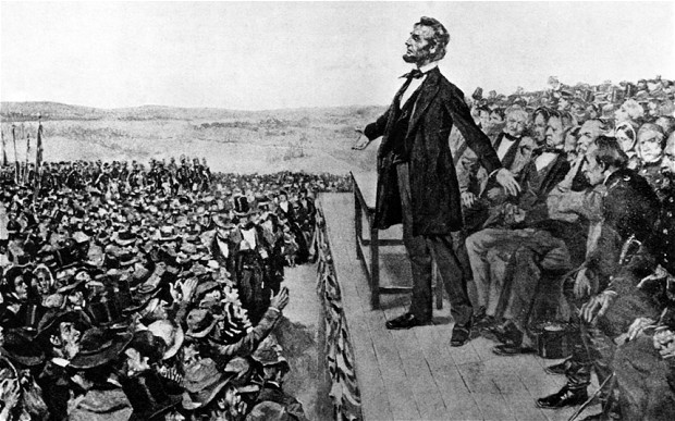 Abraham Lincoln giving the Gettysburg Address