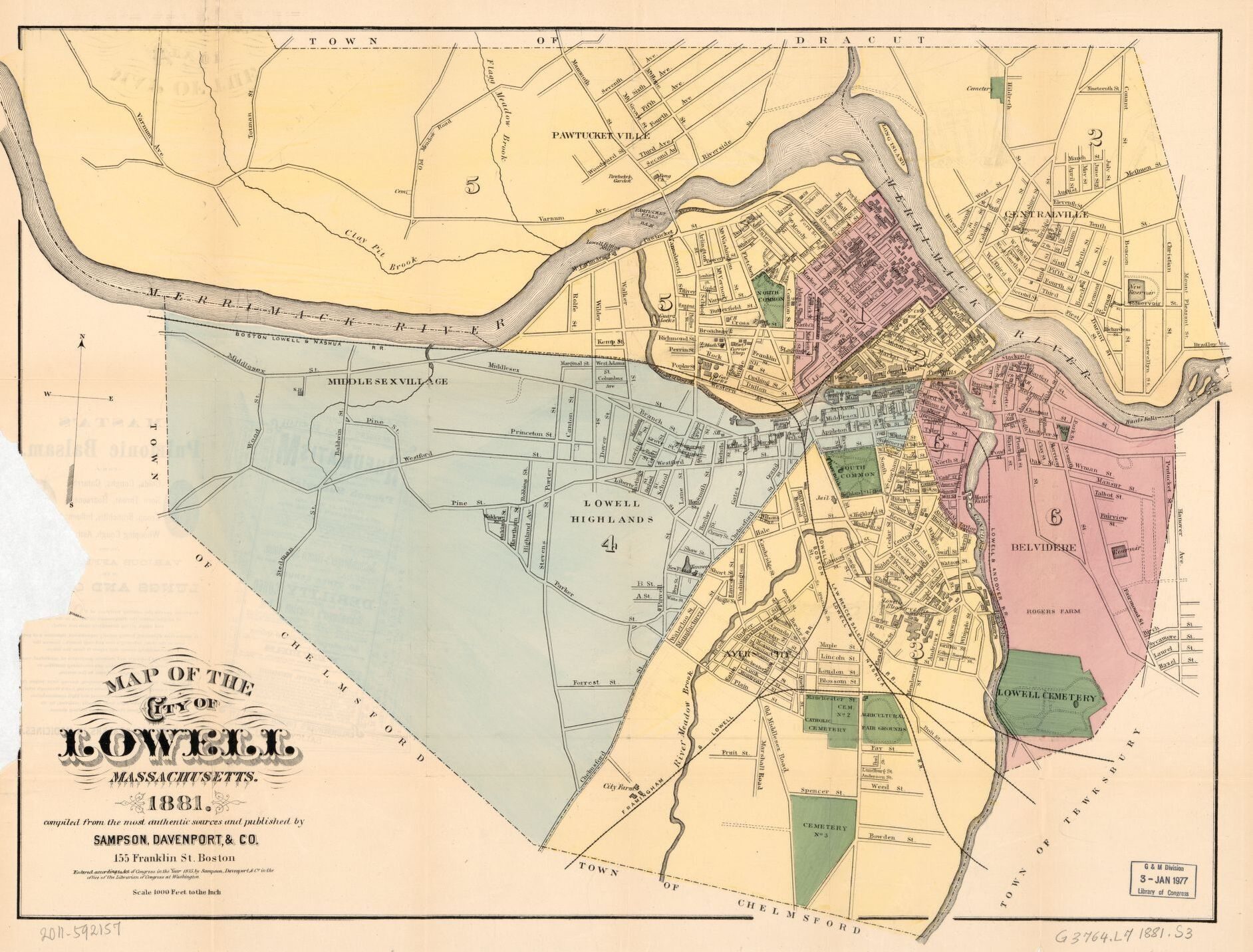 Map of Lowell in 1881. The mills are depicted along the Merrimack River and the density of settlement is very visibly increased in comparison with the 1821 map.
