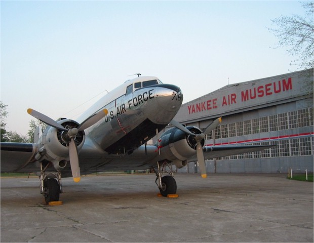 "The first plane was acquired in 1982, a Douglas C-47D Skytrain. The ""Yankee Doodle Dandy"" is a two engine transport which was built in 1945."