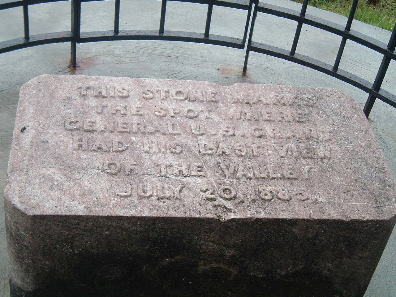 The stone marker showing the spot where Grant viewed the valley for the last time