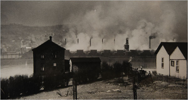 This historic photo shows the town of Donora near the time of the tragic temperature inversion that trapped industrial pollutants in 1948.