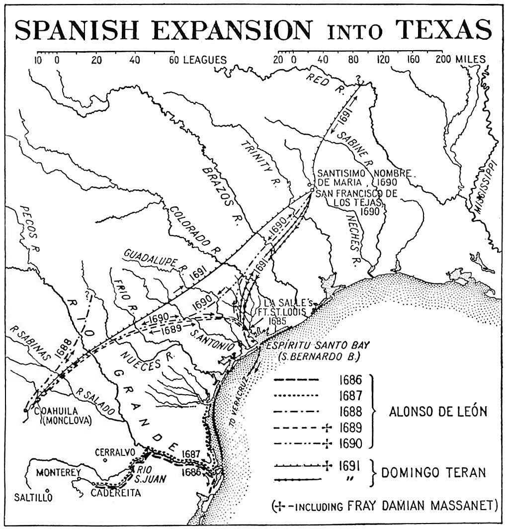 Map of Spanish colonial expansion in Texas