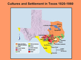 Map of settlements in Texas 1820-1860