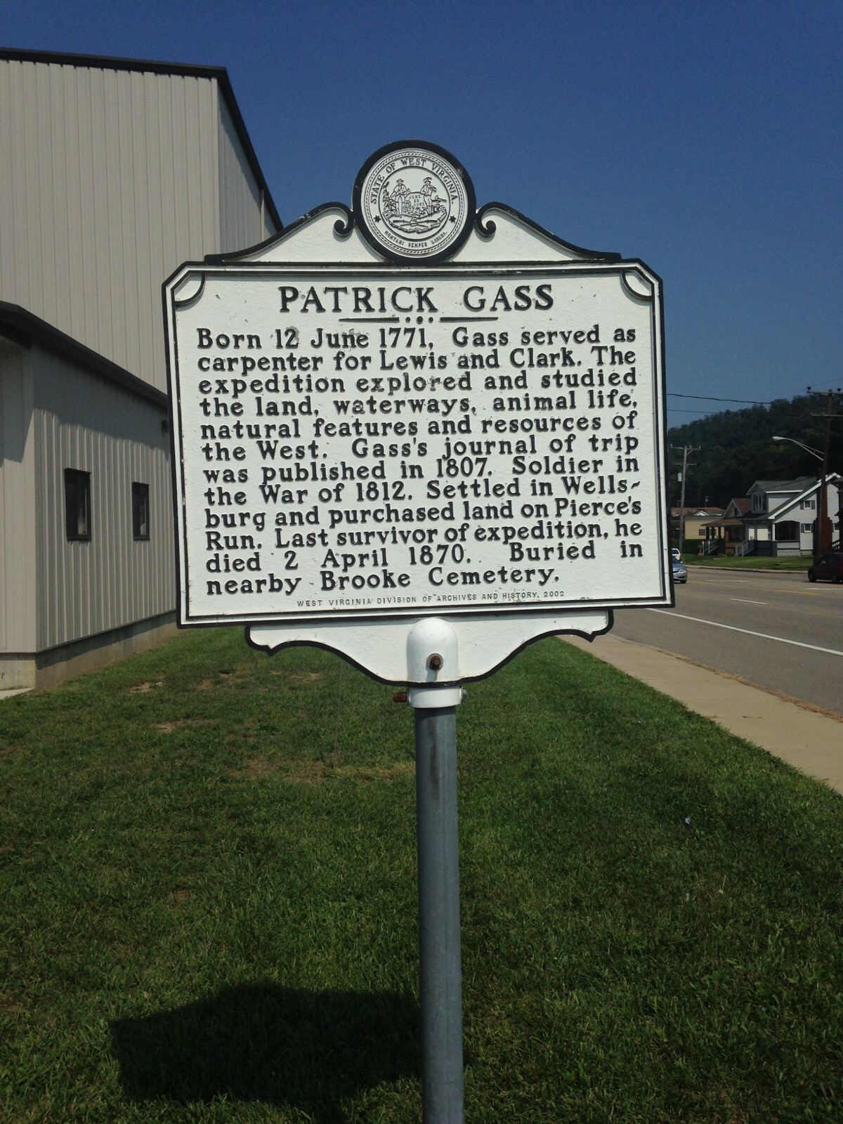 Historical Marker located at 22nd & Commerce Wellsburg, WV 26070.