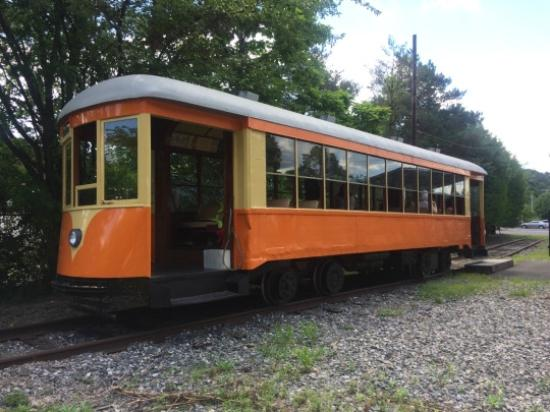 The trolley that takes visitors on the ride along the Hudson river