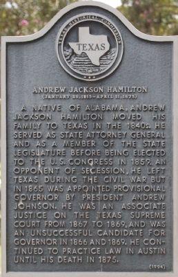 Andrew Jackson Hamilton marker