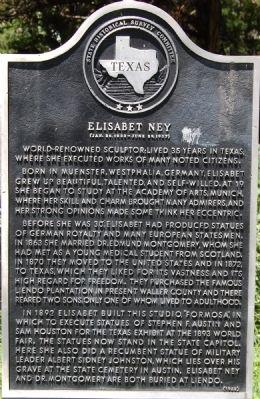 Elisabet Ney Historical Marker