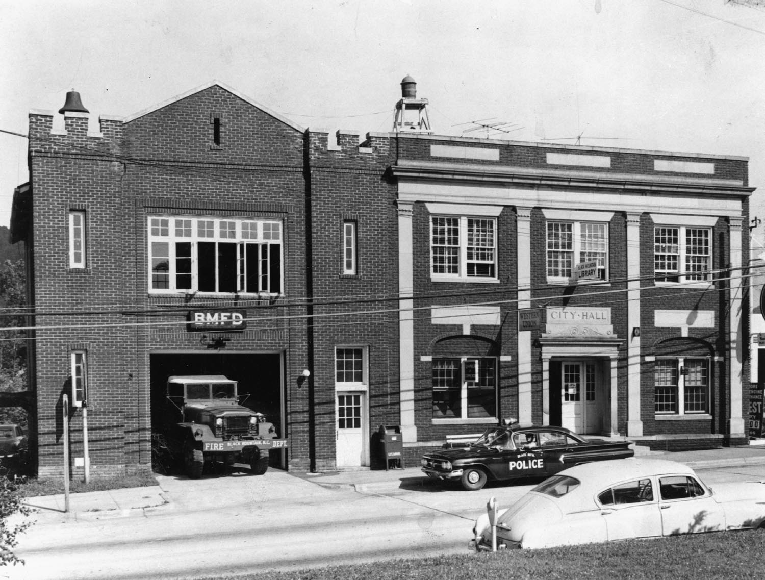 Black Mountain Firehouse in 1950. The building was turned into a museum in 1989 and still remains a historic part of the town.