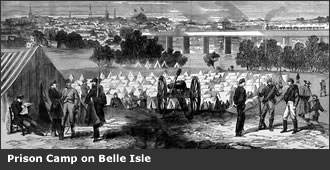 1865 depiction of the prison on Belle Isle