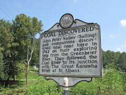 Landmark of the spot where John Peter Salley found coal in Racine, WV.
