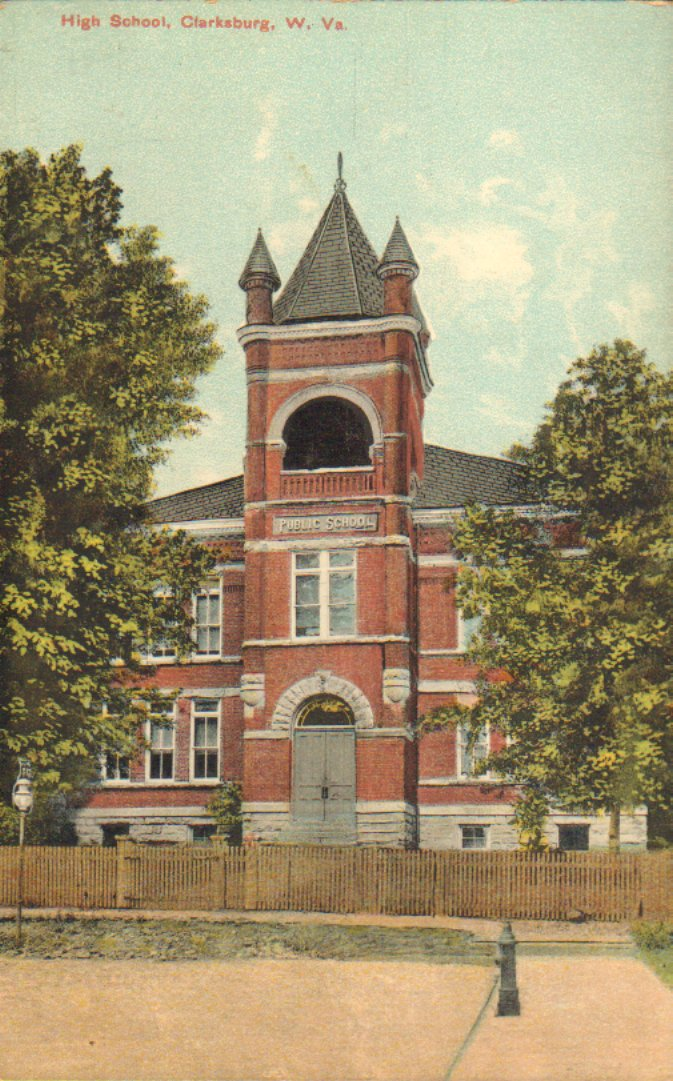 Color postcard of the Towers High School 