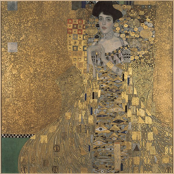 "Gustav Klimt's ""Portrait of Adele Bloch-Bauer I."" The painting was created in 1907 using oil paints and silver and gold leaf on canvas."