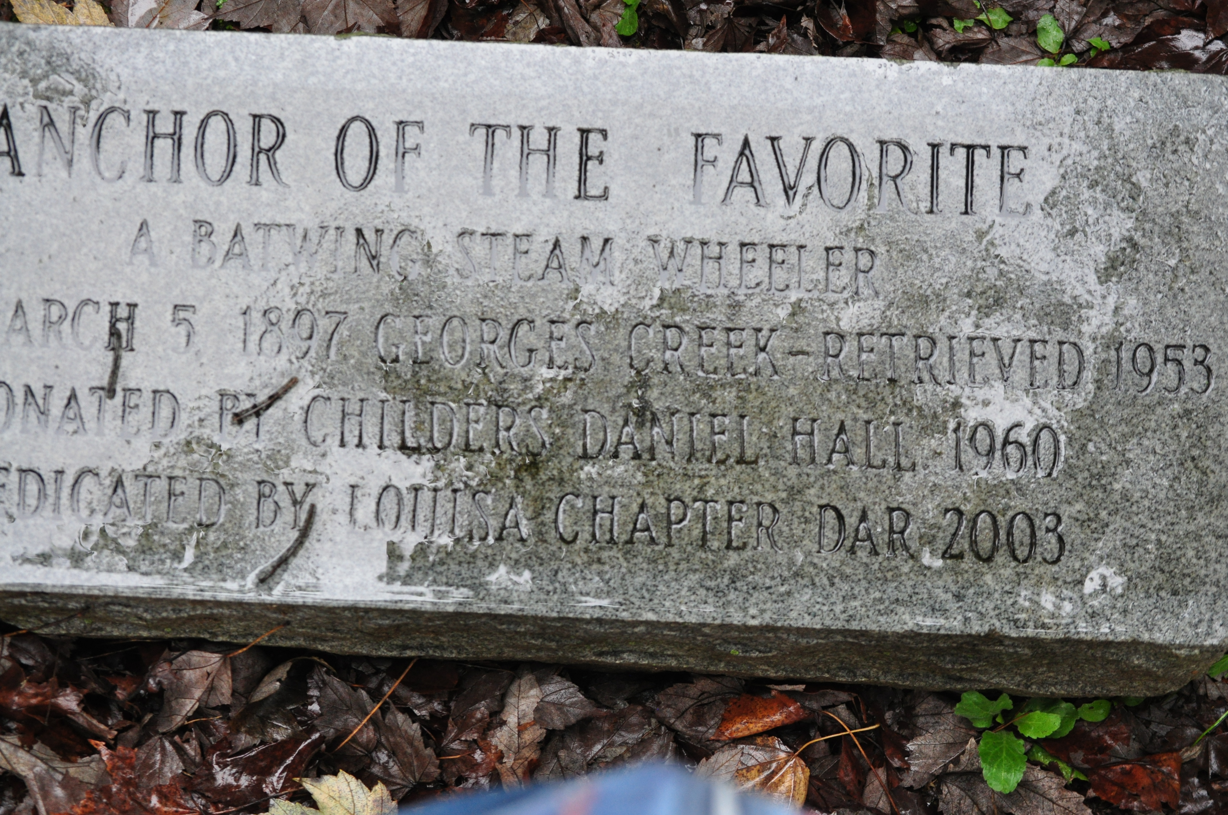 The Anchor from The Favorite A Batwing Steam Wheeler located in Louisa, KY Plaque