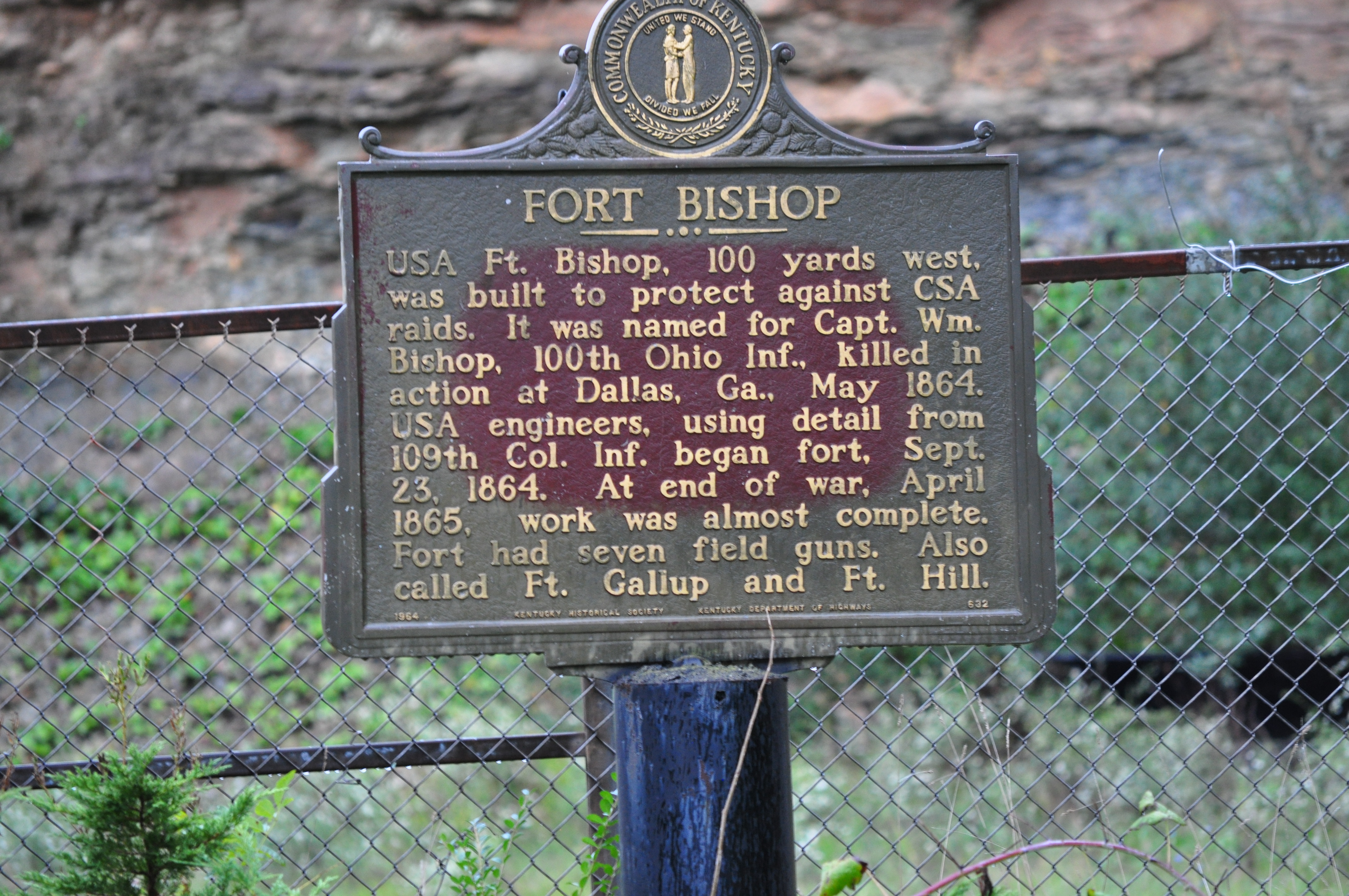 Fort Bishop Historical Marker Located on the Left hand side of route 2565. You can see the sing after you pass Big Sandy News.