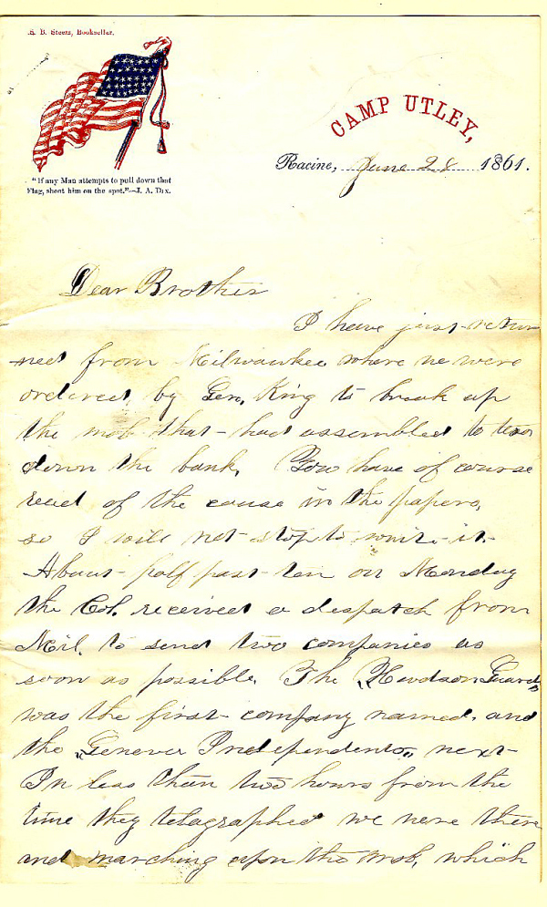 Letter written by Jerry Flint, June 28, 1861, from the Jerry E. Flint Papers, River Falls Mss BN, University Archives & Area Research Center, University of Wisconsin-River Falls