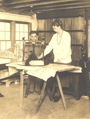 Eleanor Roosevelt with a craftsman at the Val-Kill Industries factory she operated with Marion Dickerman and Nancy Cook from 1926-1936