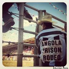 An inmate about to participate in the long-running rodeo
