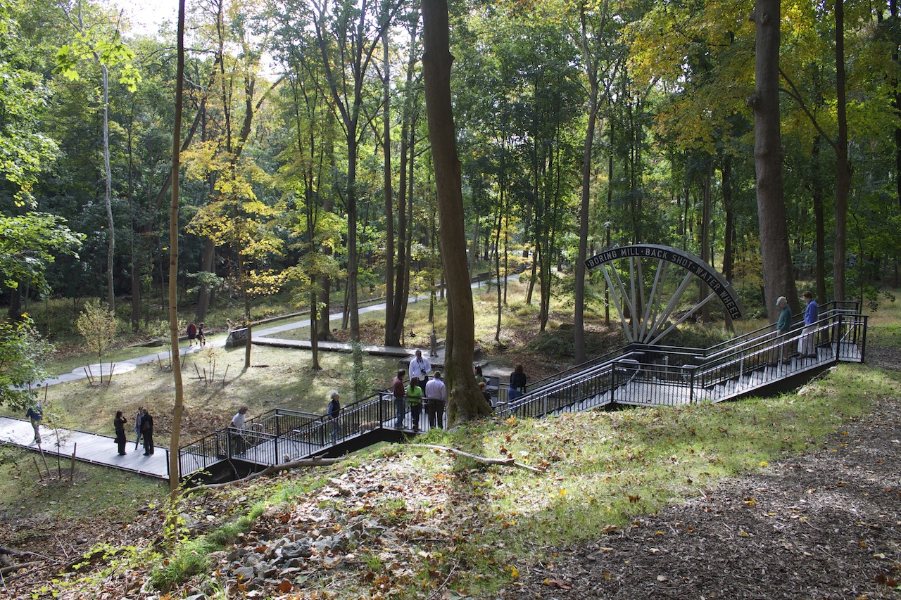 Stairs and a partial water wheel were installed in 2013
