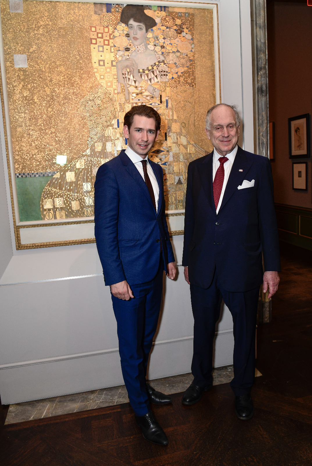 "Ronald Lauder and Austrian Chancellor Sebastian Kurz pause for a picture in front of Klimt's masterpiece, ""Portrait of Adele Bloch-Bauer I."""