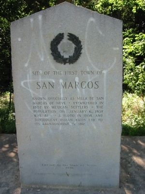 This marker is located just south of the San Marcos River and about a mile south of San Marcos Highway.