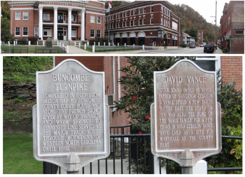 Plaques outside of the courthouse explaining history of the contributor of the land David Vance, and the Asheville Turnpike that ran through the town bringing trade the the town.