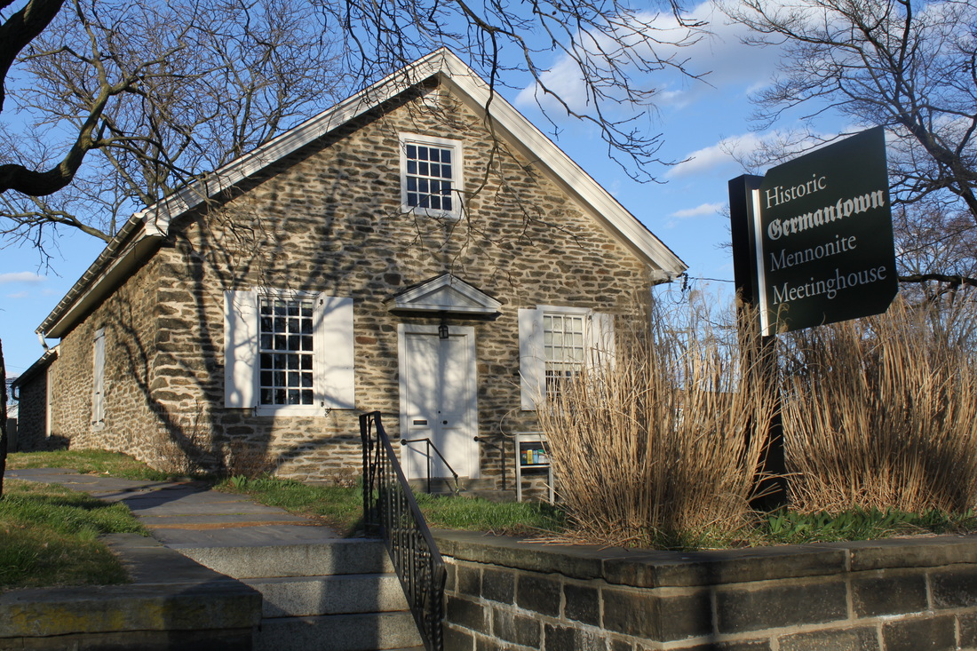 Early spring at historic 1770 Germantown Mennonite Meetinghouse