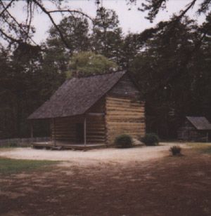 This cabin was built by John Allen around 1780 and stands on the battlefield. It was donated to the state historic site by descendants of the family and is part of the historic park.