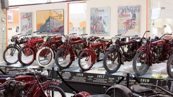 Some of the Indian Time Line bikes on display