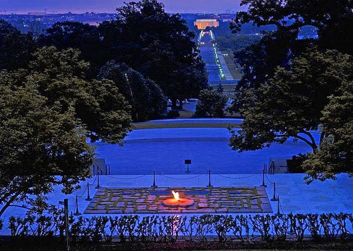A shot of the flame at night.