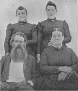 Jim and Malinda Conder shortly after the events of August 10, 1884 with their daughters. A cane can be seen leaning on Malinda