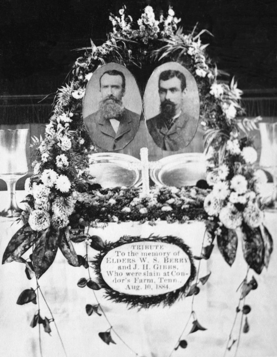 Memorial wreath at funeral the murdered Elders Gibbs and Berry