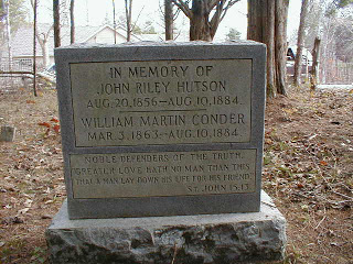 On the spot of the massacre, rests this monument to the Conder sons killed August 10, 1884. John Riley was a stepson