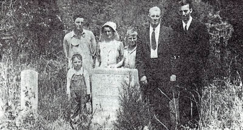 1944 photo of missionaries and local members visiting the Conder monument