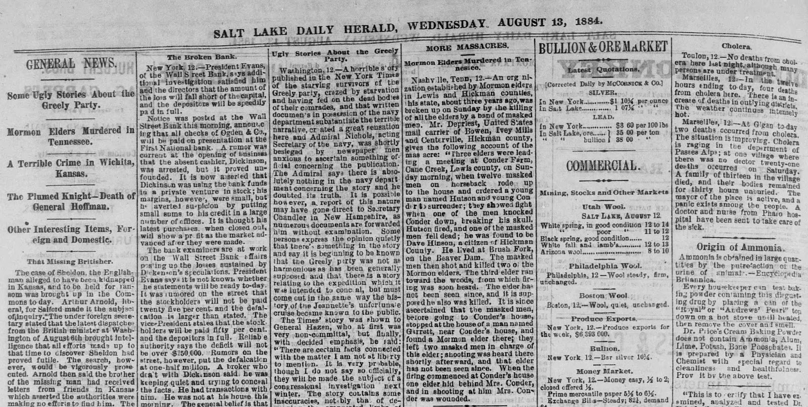 August 13, 1884 Salt Lake Daily Herald newspaper with article on the Cane Creek Massacre