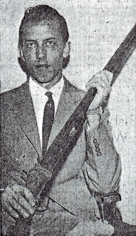 1944 photo of Elder Lindstrom returning home to Salt Lake from his mission in Tennessee. He carries the gun used by John Riley before being killed. The gun was preserved by the Conder sisters and presented to the Church History Museum.