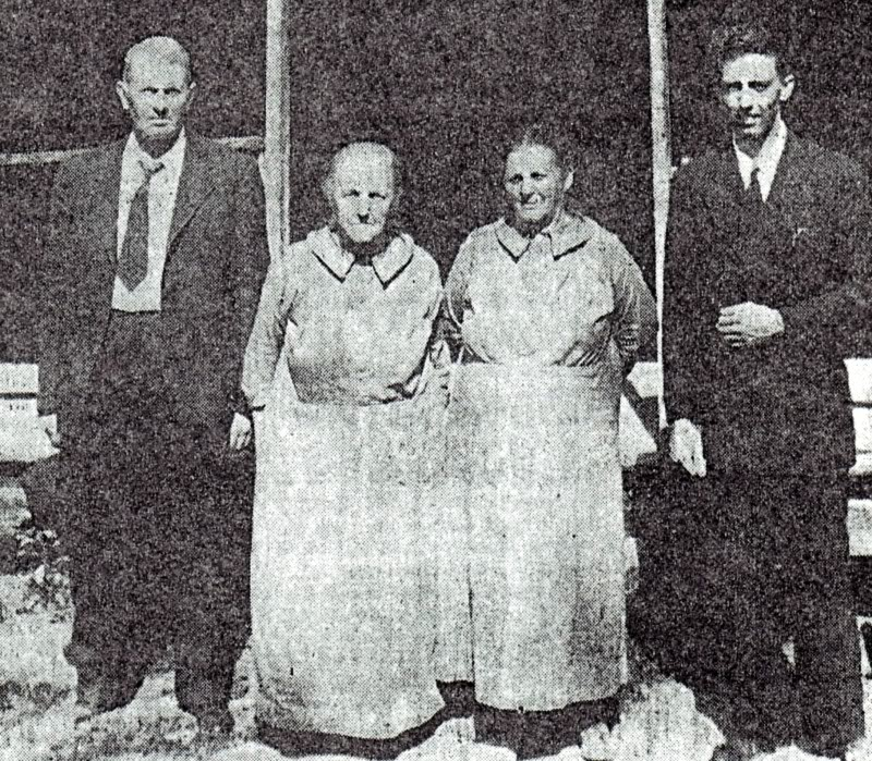 Elders Hawkins and Lindstrom with the Conder sisters, Rachel and Lavicia, in 1944.