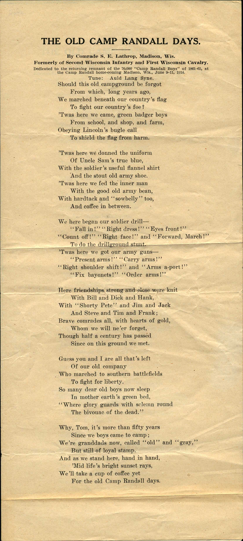 "Poem, entitled ""The Old Camp Randall Days"", by S.E. Lathrop, collected by Charles F. Whipple, who served with Company M, 2nd Wisconsin Cavalry Regiment in the Civil War."