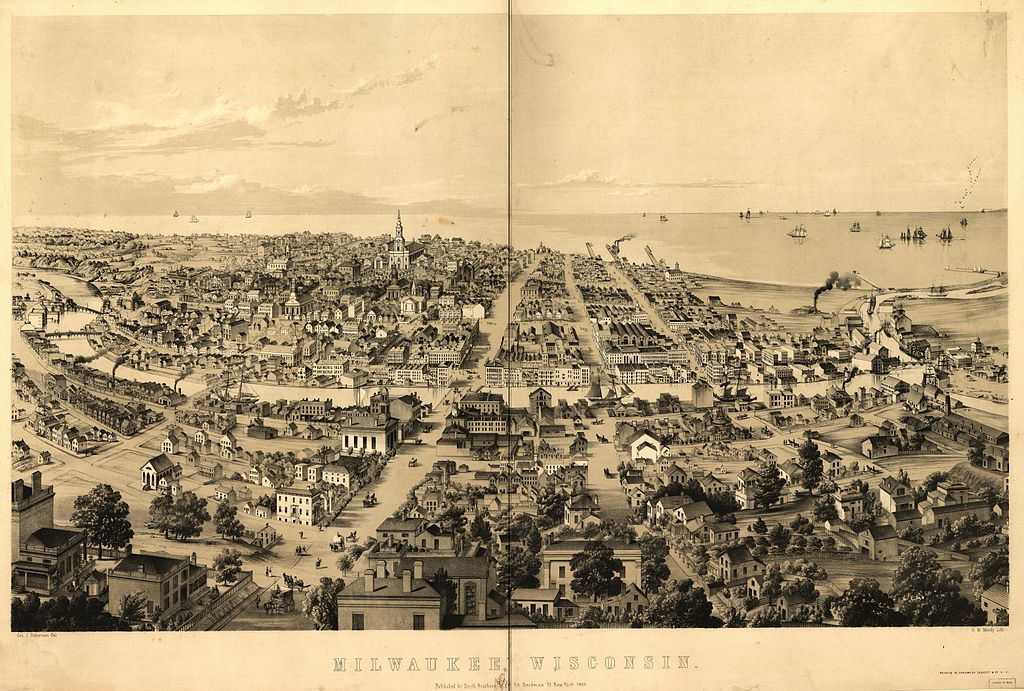 Milwaukee in 1858, after a drawing by George J. Robertson; lithograph by David William Moody. - Library of Congress Prints and Photographs Division Washington, D.C.