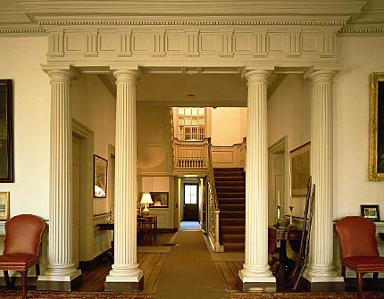Visitors to this historic mansion first entered this room, which has been preserved to match its original appearance.